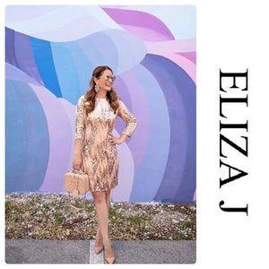 Eliza J Sequin&Velvet Sheath Dress